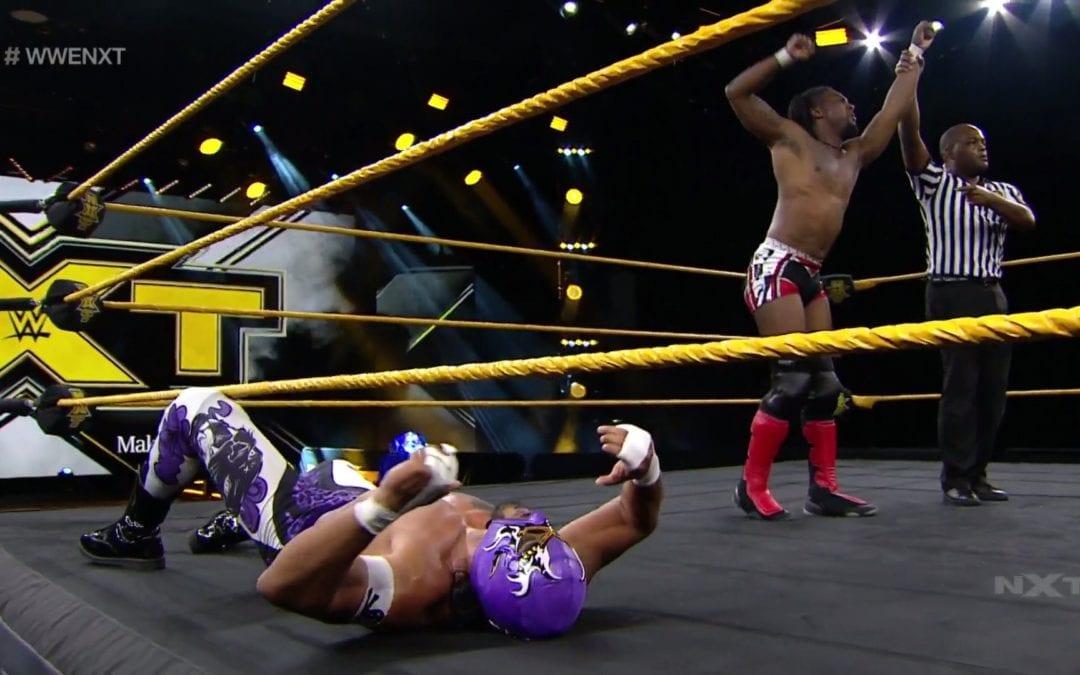 "Isaiah ""Swerve"" Scott defeats Hijo del Fantasma at the Interim NXT Cruiserweight Championship tournament"