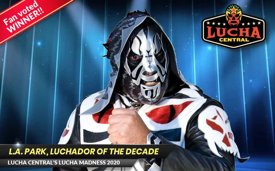 Promo poster of LA Park, the Lucha Madness Champion 2020